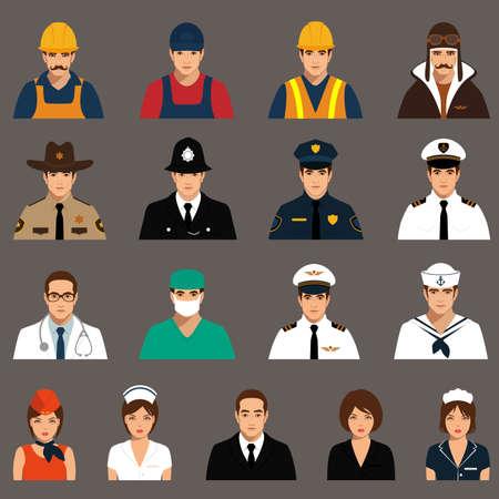profesiones: trabajadores de iconos vectoriales, personas profesión, ilustración vectorial de dibujos animados