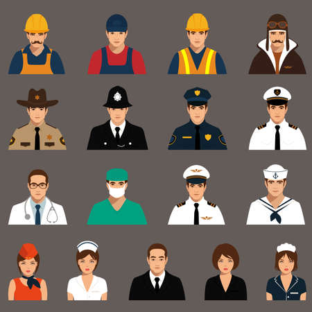 female police: vector icon workers, profession people, cartoon vector illustration