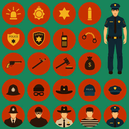 vector security icon, police, law, crime badge set illustration