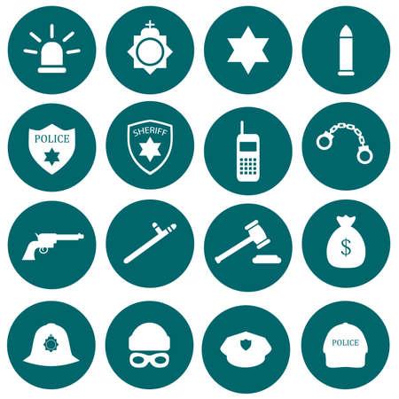 gorra polic�a: icono de seguridad vector, polic�a, ley, establecer ilustraci�n insignia crimen