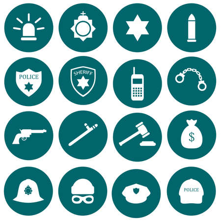 cartoon hat: vector security icon, police, law, crime badge set illustration
