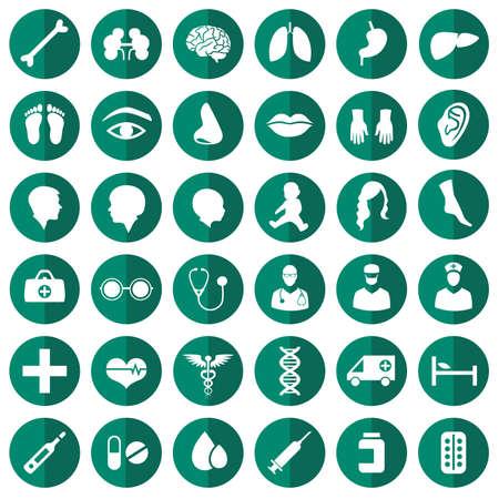 医療のアイコンの図、薬セット、病院介護シンボルをベクトルします。