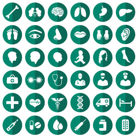 vector medical icon illustration, medicine set, hospital care symbol Stock Vector - 35037037