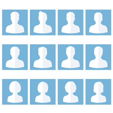man face profile: set of flat avatar, vector people icon, user faces design illustration