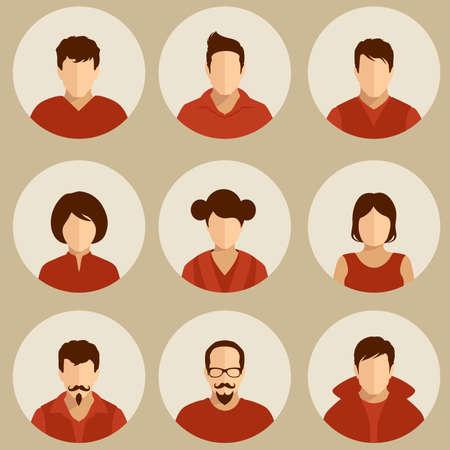 circulo de personas: juego de avatar plana, la gente del vector icono, el usuario se enfrenta ilustraci�n, dise�o, Vectores