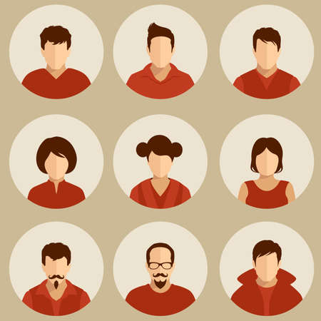 male face profile: set of flat avatar, vector people icon, user faces design illustration