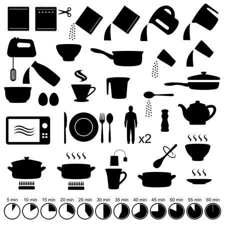 conjunto de vectores iconos de cocina instrucciones del manual, Vectores