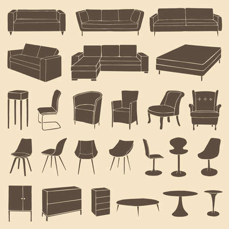 living room sofa: vector home furniture icons, room interior