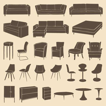 vector meubelen iconen, kamer interieur