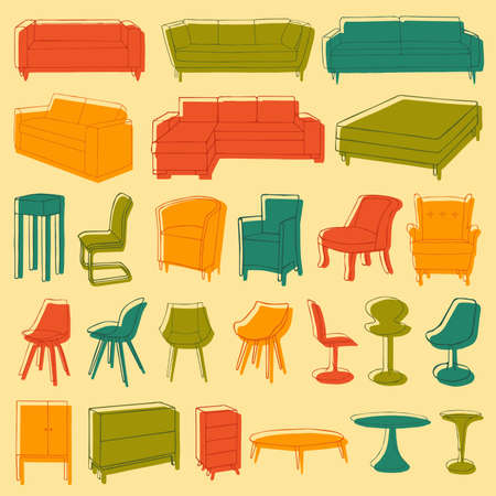 vector home furniture icons, room interior Vector