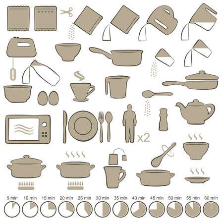 set di icone di cottura manuale istruzioni, Vettoriali