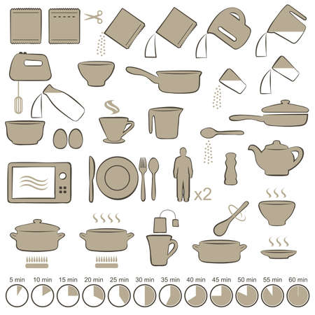 set icons cooking manual instructions,