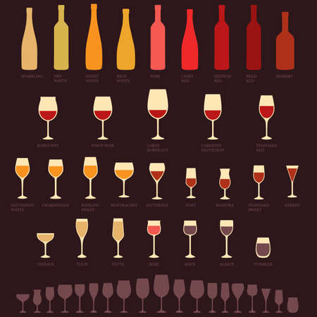 retro type: vector red and white wine glasses and bottle types, alcohol, drink isolated icons Illustration