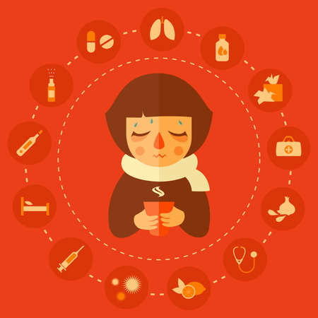 virus, allergy and cold medical icons, cold kid vector illustration