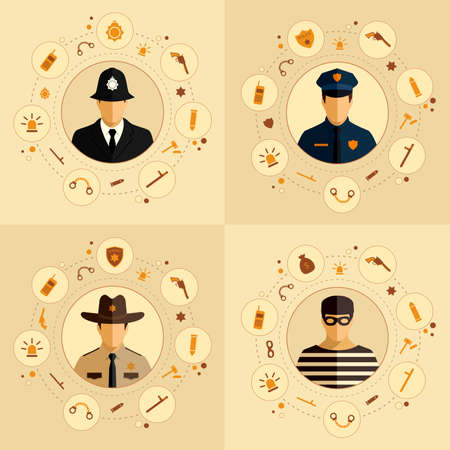 vector security icon, police background, law, crime badge set illustration Vector