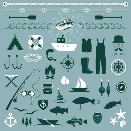 fishing net: vector fish set icons, fishing boat, Illustration