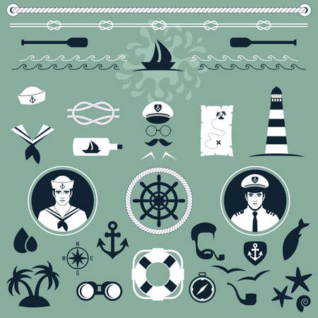 captain ship: vector nautical icons, captain and sailor boat, sea set