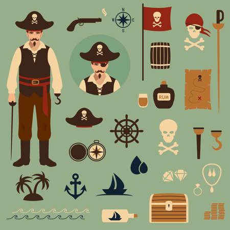 isla del tesoro: iconos conjunto de vectores de piratas, tesoro, mapa, ejemplo del cráneo Vectores