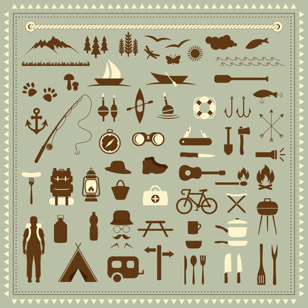 cartoon summer: vector set camping icons, travel equipment, tent, compass Illustration