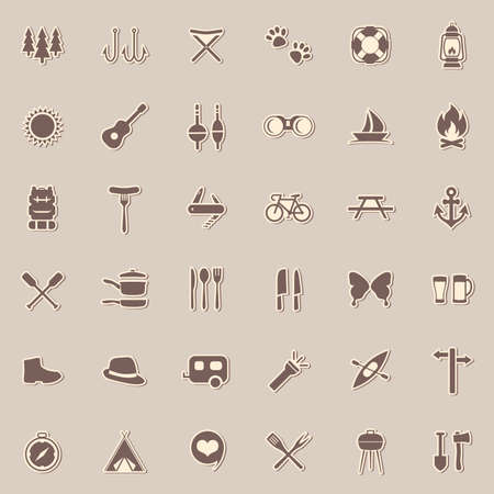 vector set camping icons, travel equipment, tent, compass Çizim