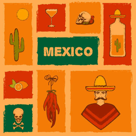 mexico culture: mexico background, vector mexican icons, cactus, tequila illustration Illustration