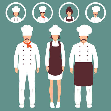 kitchen aprons: vector cooking illustration, cartoon cook icons, restaurant chef hats