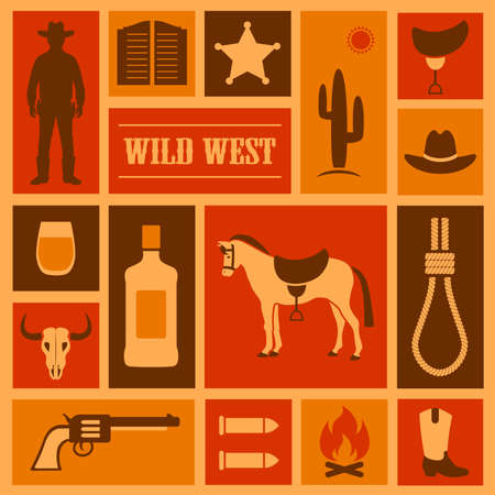 saloon: wild west vector background, western cowboy illustration,
