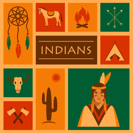 american indian aztec: american native indian, vector apache ethnic illustration,