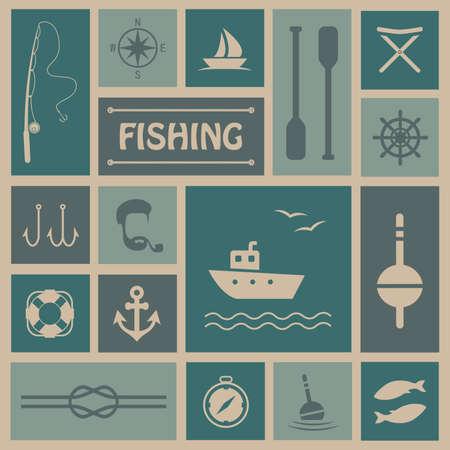 pescando: Fondo del vector de la pesca, pescados, establecer iconos barco,