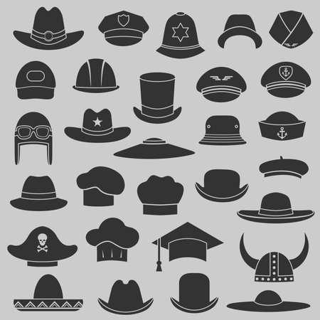 piloto: conjunto de vectores sombrero y gorra de ilustración, aislado Conjunto de moda de iconos Vectores