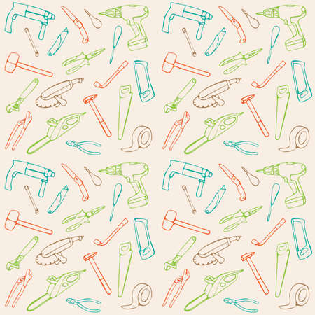 vector seamless pattern, construction tools background Vector
