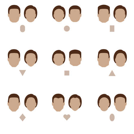 set of flat face shape, vector people icon, head silhouette type Ilustração