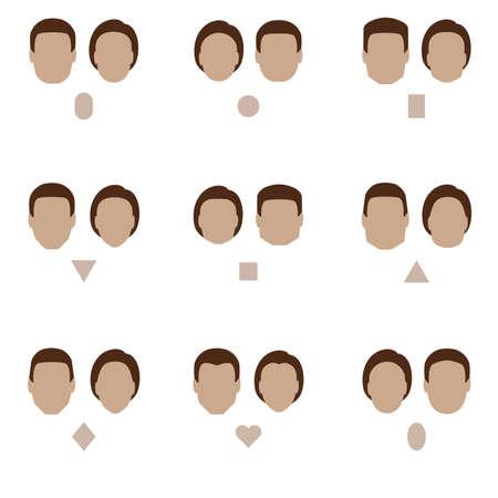 set van platte vorm van het gezicht, vector mensen icon, hoofd soort silhouet