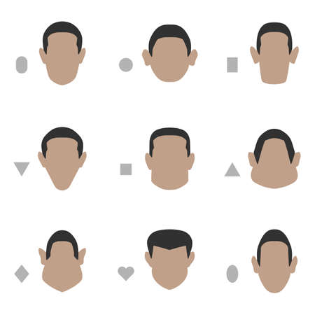 set of flat face shape, vector people icon, head silhouette type 向量圖像