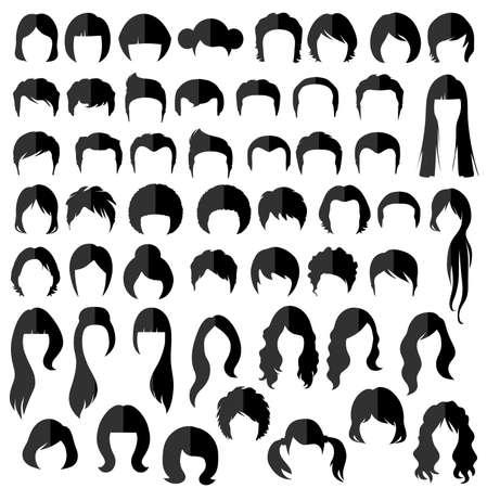 capelli lunghi: capelli uomo donna nad, vettore acconciatura silhouette Vettoriali
