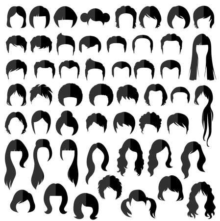 long hair: woman nad man hair, vector hairstyle silhouette