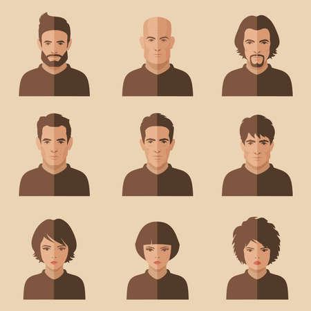 visage femme profil: Vecteur personnes face plane, avatar ic�ne, personnage de dessin anim� Illustration