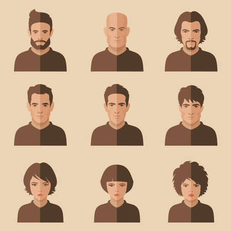 hair style: vector flat people face, avatar icon, cartoon character