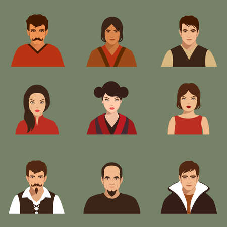 man face profile: vector flat people face, avatar icon, cartoon character