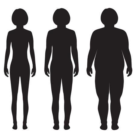 vector dik lichaam, gewichtsverlies, overgewicht silhouet illustratie Vector Illustratie