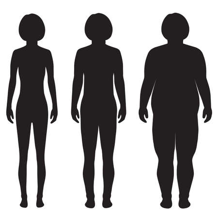 silhouette woman: vector fat body, weight loss, overweight silhouette illustration Illustration