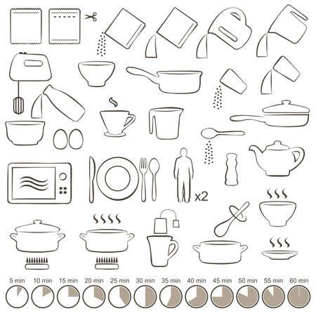 ustensiles de cuisine: vector set icônes de cuisine manuel d'instructions, Illustration