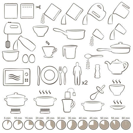 dishes set: vector set icons cooking manual instructions,