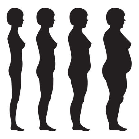 vector fat body, weight loss, overweight silhouette illustration Çizim