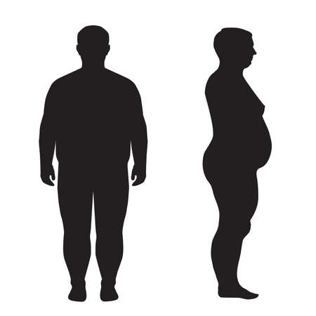 obeso: gordura corporal acima do peso silhueta ilustra