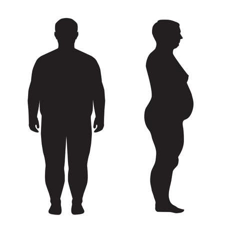 donne obese: grasso corporeo silhouette sovrappeso illustrazione Vettoriali