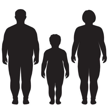 dik lichaam overgewicht silhouet illustratie Stock Illustratie