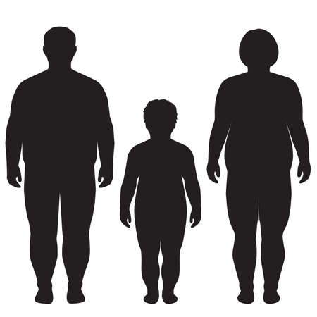 grasso corporeo silhouette sovrappeso illustrazione Vettoriali
