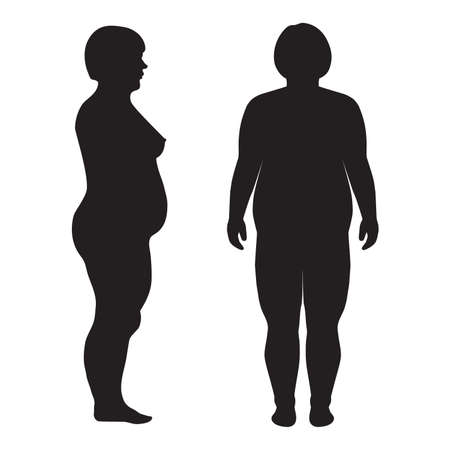 fat body: vector fat body, weight loss, overweight silhouette illustration Illustration