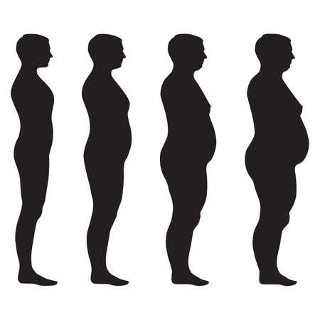 donne obese: vector grasso corporeo, perdita di peso, sovrappeso illustrazione silhouette